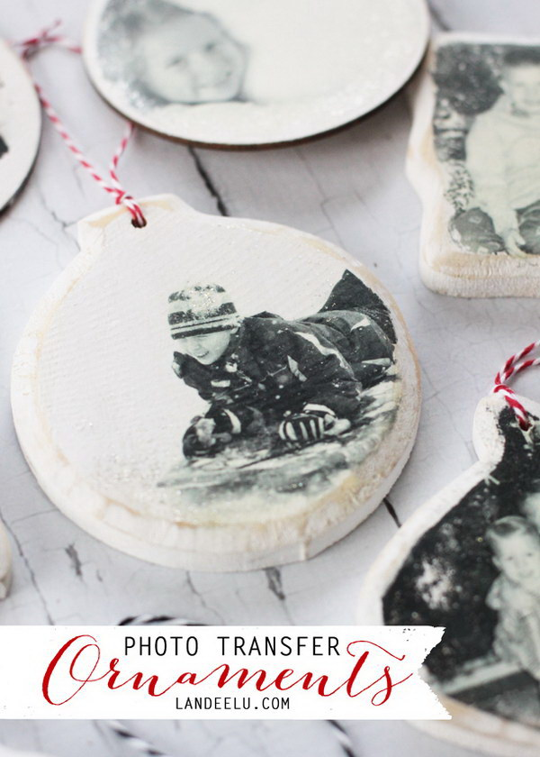 Photo Transfer Christmas Ornaments.