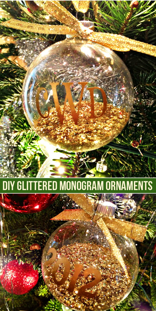DIY Monogram and Glitter Ornaments.