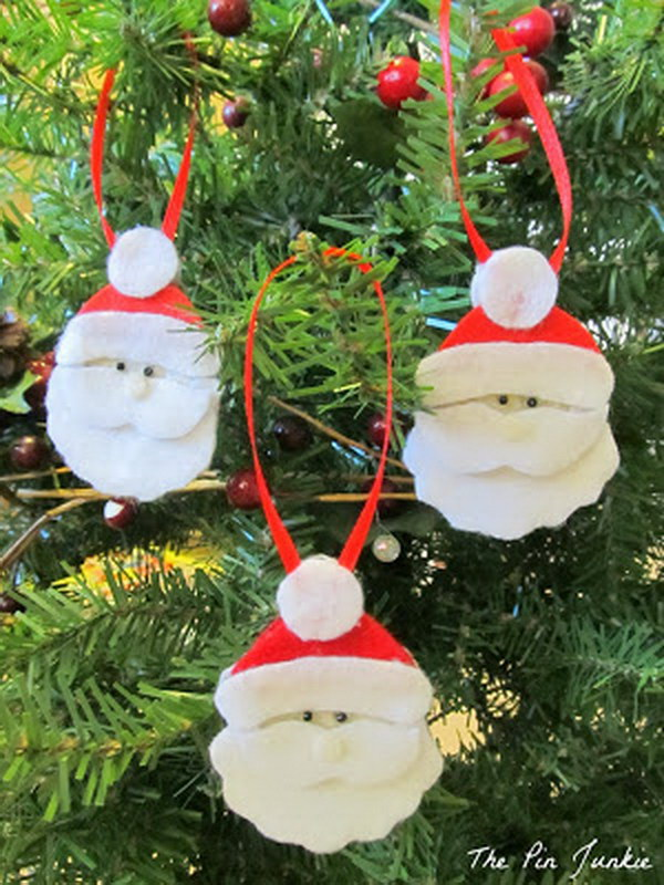 Felt Santa Christmas Ornaments.
