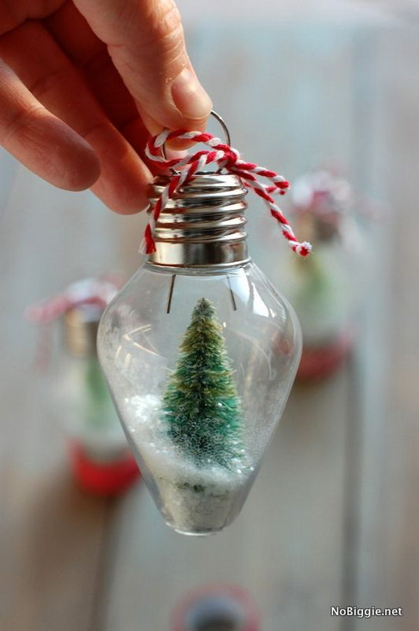 DIY Mini Snow Globe Ornament.