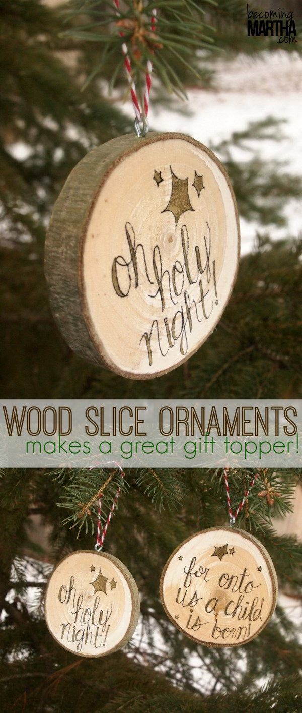 Wood Slice Christmas Ornaments.