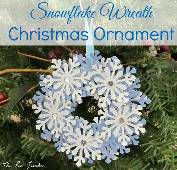 DIY Paper Snowflake Wreath Ornament.