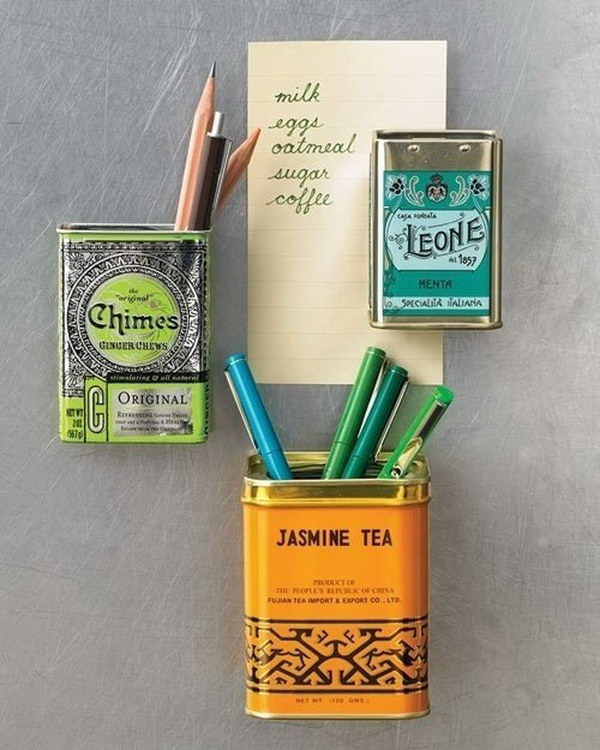 Use Empty Tea Cans to Store Pens And Pencils.
