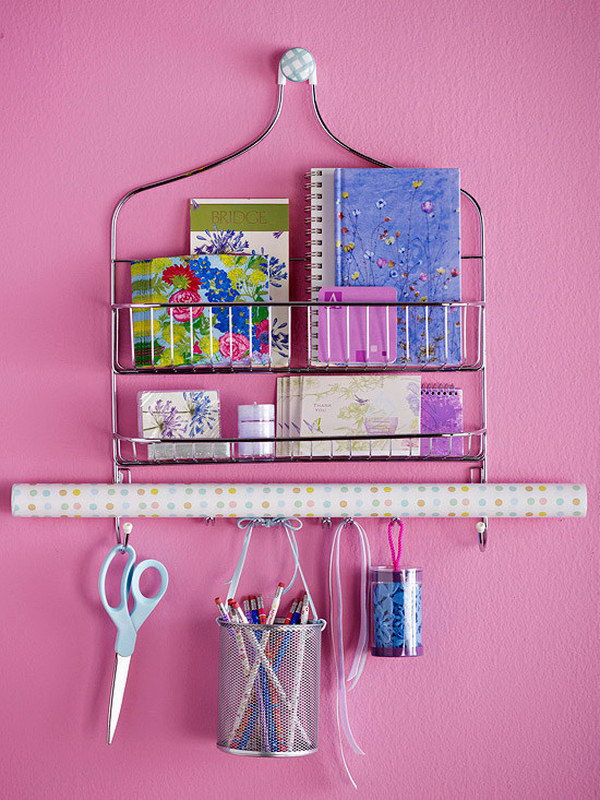 Use a Shower Caddy to Store School Supplies.