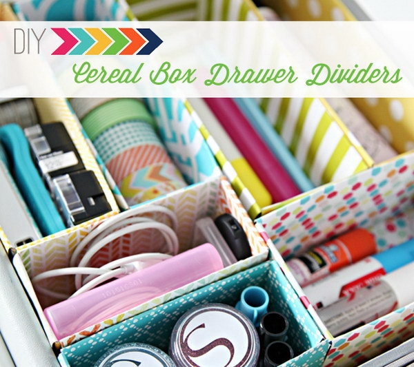 Cereal Box Dividers for Desk Drawers.