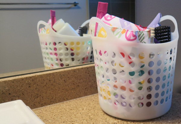 Organize Your Bathroom and Morning Routine with a Shower Caddy.