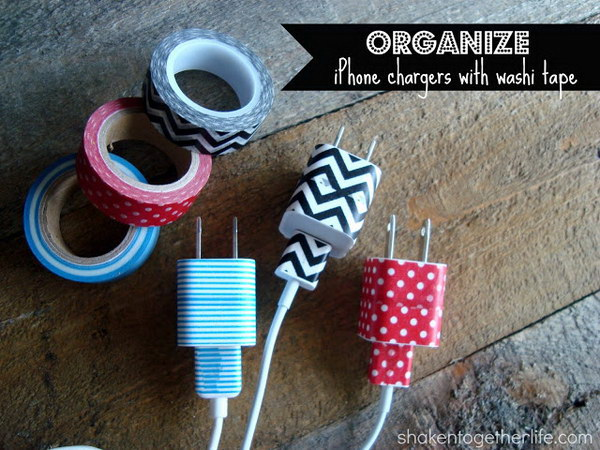Organize Your Iphone Chargers with Washi Tape.