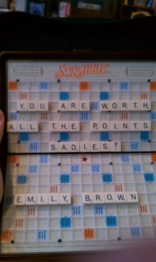Scrabble Idea to Ask a Guy to Sadie's.
