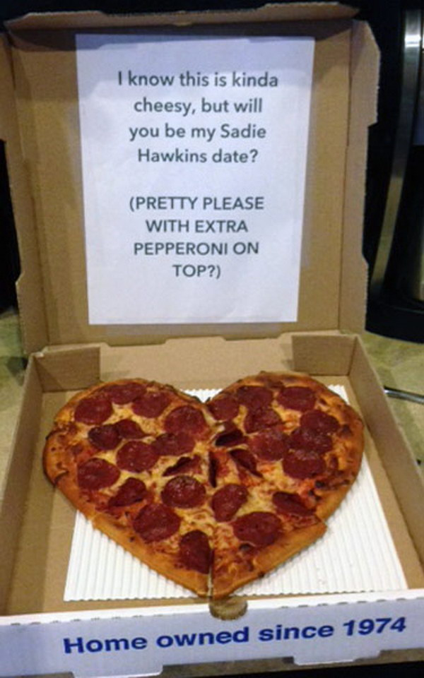 Heart Shaped Pizza Sadie Hawkins Proposal. This is a great sadies asking idea for a Pizza lover.