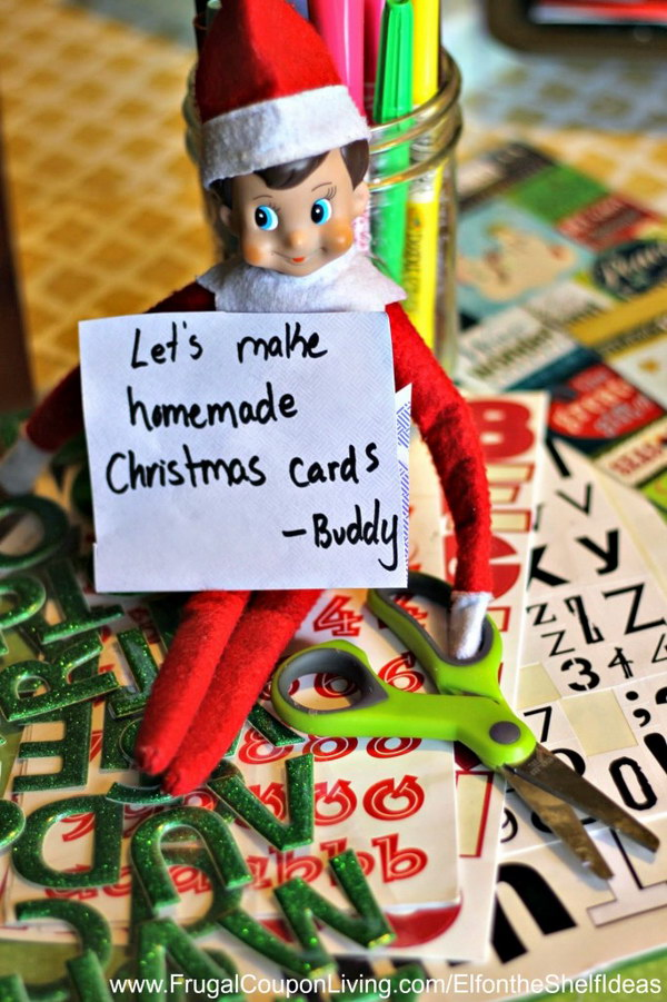 Elf Makes Christmas Cards.