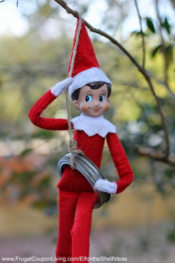 Elf Tire Swing From A Mason Jar Lid.