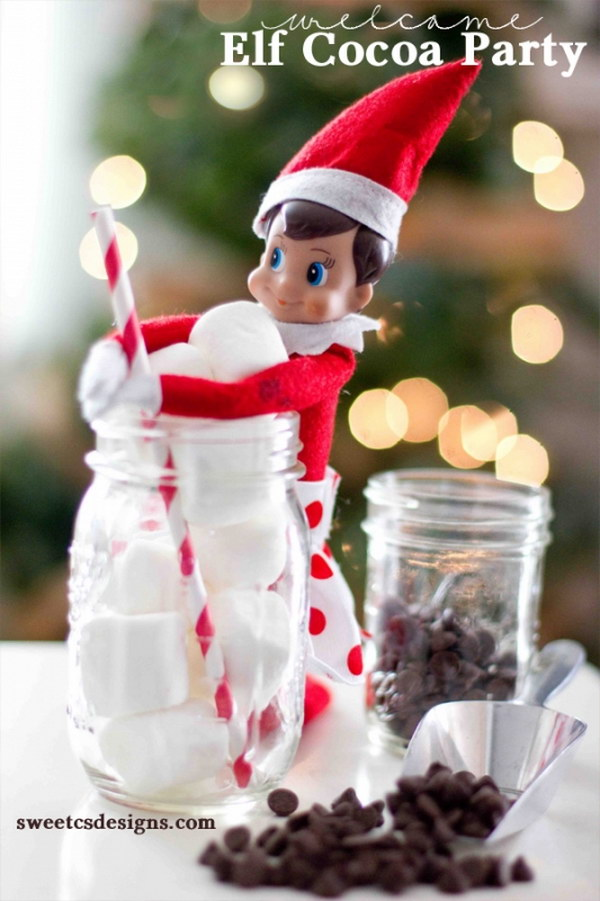 Elf Cocoa Party. Bring your little Elf on the Shelf to a cocoa party and offer him some yummy cocoa! Super cute and genius idea to decor with this little guy.