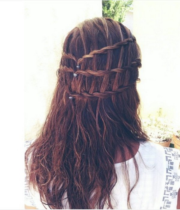 Waterfall Braid Half Up Half Down Hair.