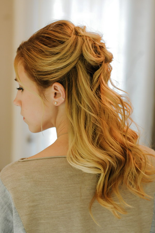 Rosette Half Up and Traditional Loose Curl.