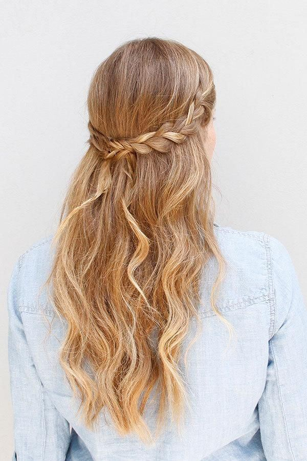 Half Up Half Down Hairstyle: Braid and Pretty Waves.
