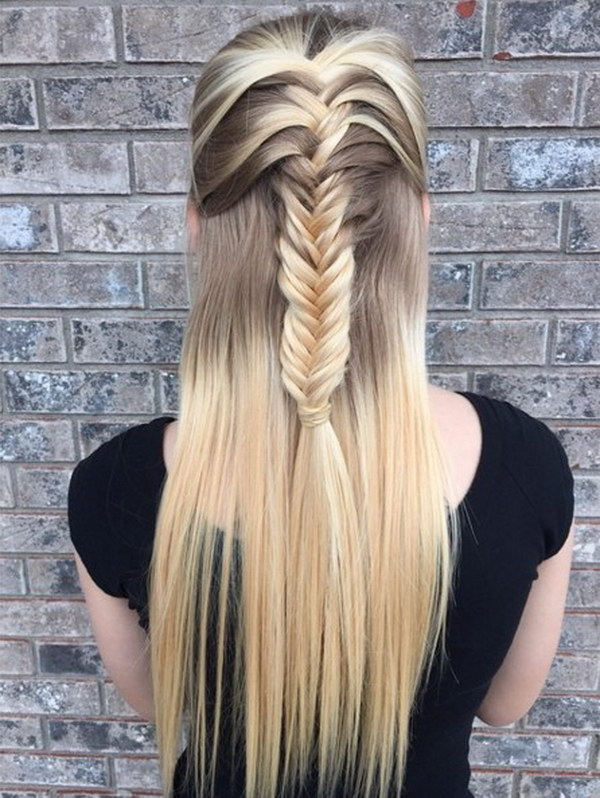 Fishtail Braid Half Up Half Down Hairstyle.