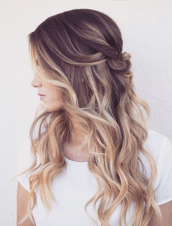 Hairstyle Up : Beautiful, romantic half up half down hairstyle with Curls