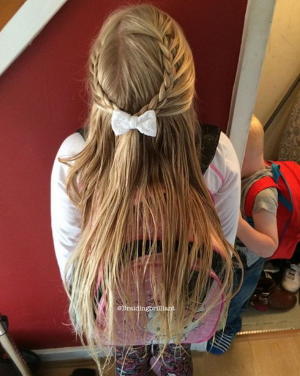 Cute Braid Half Up Hairstyle for Kids.
