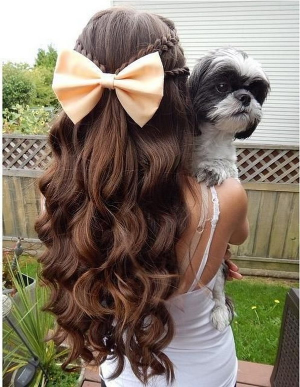 Half Up Down Hairstyle With Curls And Braids