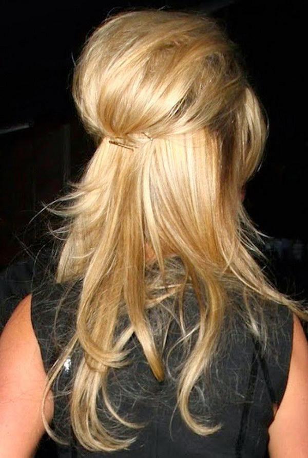 Half Up Half Down Bardot Hairstyle.