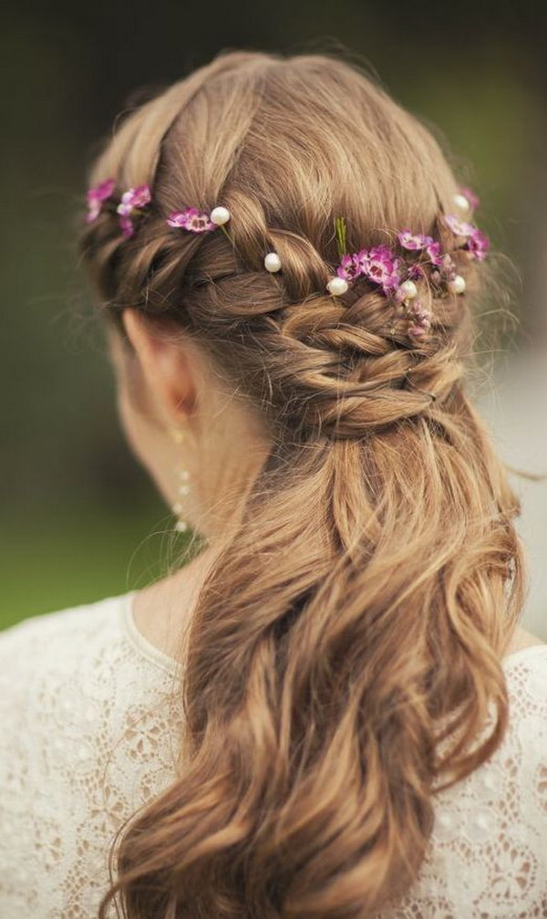 Half Up Half Down Bridal Hairstyle with Flowers.
