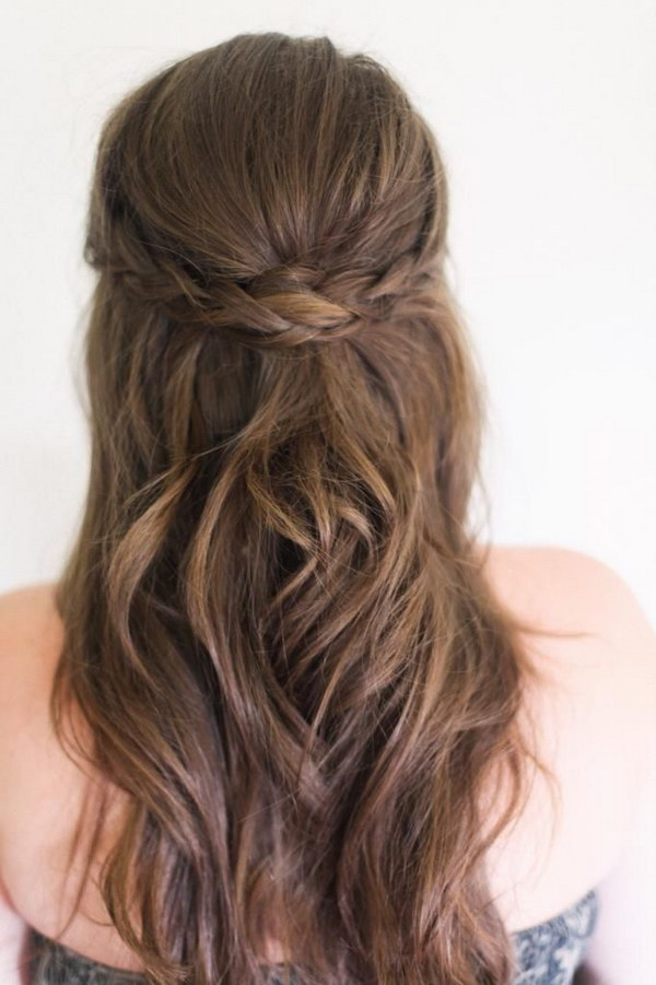 Braided Crown	Half Up Half Down Hairstyle.