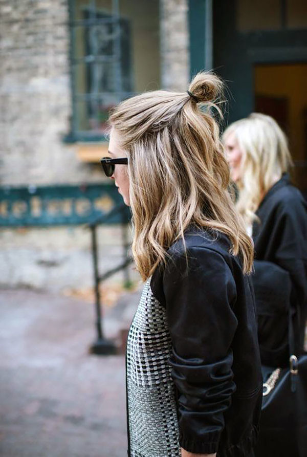 Half Up Half Down Hairstyle: Samurai Bun.