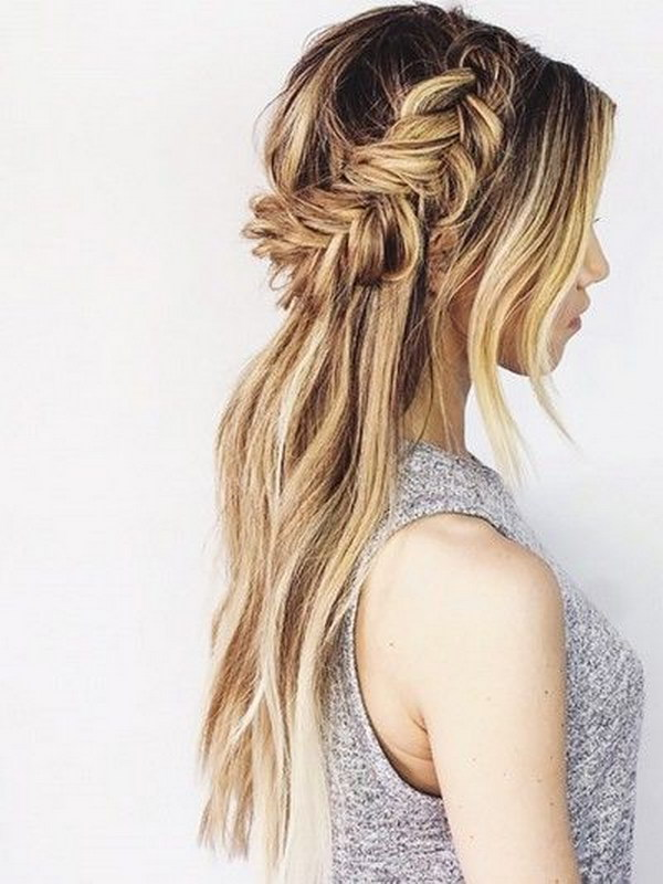 Messy Fishtail Half Crown   Half Up Half Down Hairstyle.
