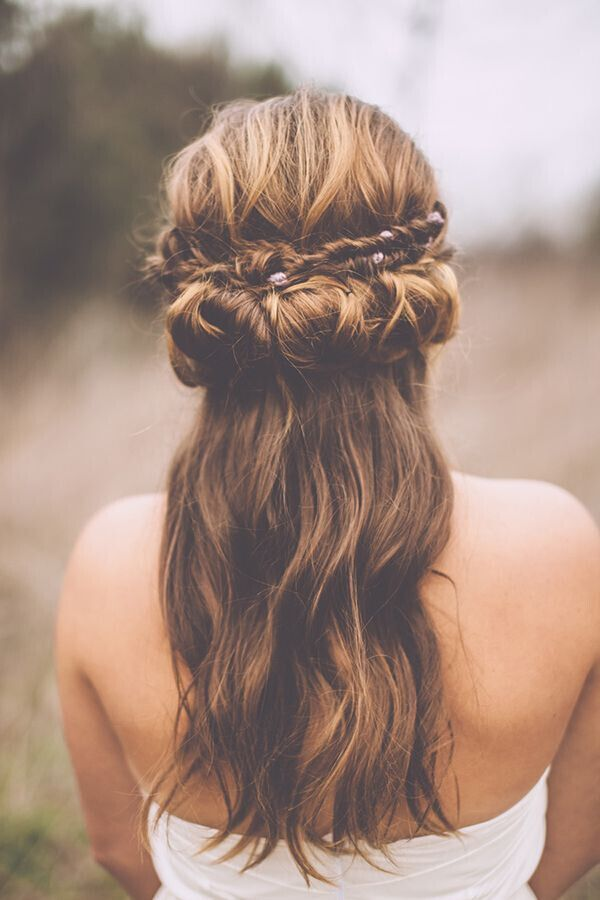 Bohemian Hairstyle with Fishtail Braid: Wedding Hairstyle Ideas.