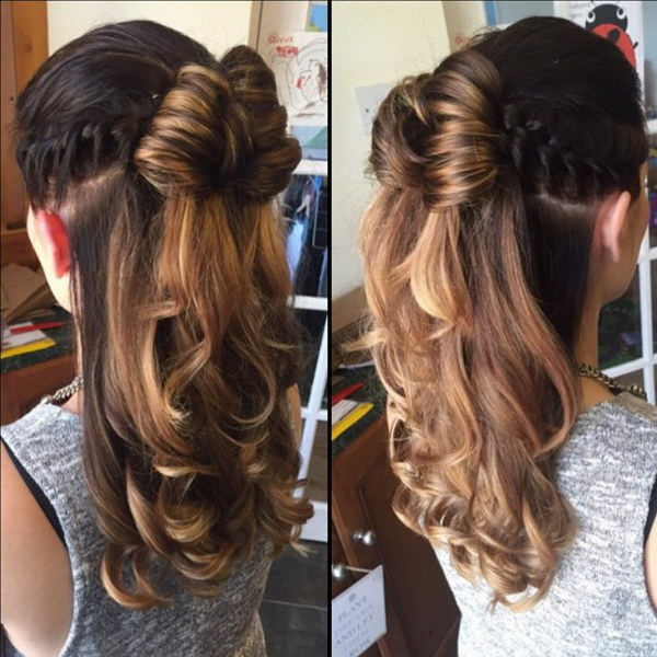 Half Up Half Down Hairstyle for Curly Hair.