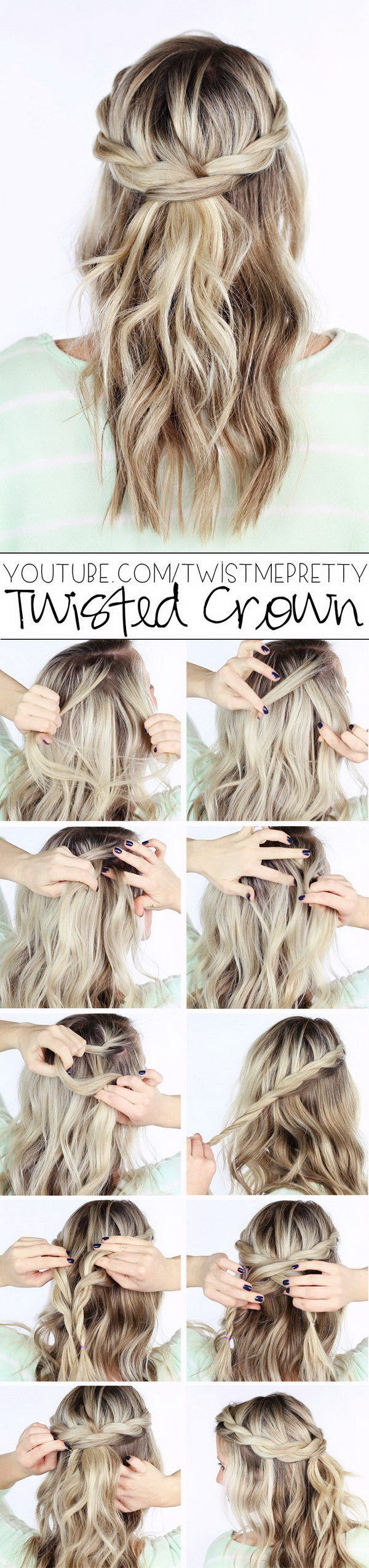 Twisted Crown Braid Hairstyle Tutorial.