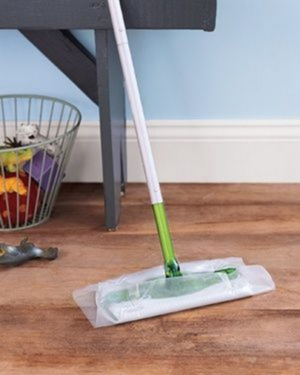 Wax Paper as Floor Cleaner.