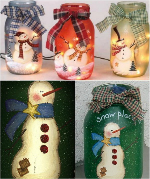 Painted Jolly Snowmen Mason Jar Light