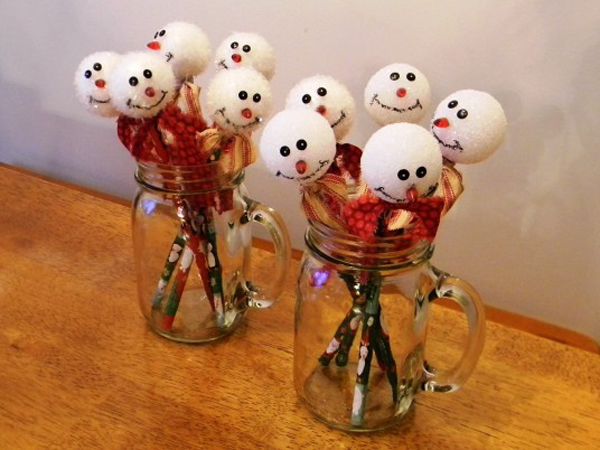 Snowmen on Mason Jars