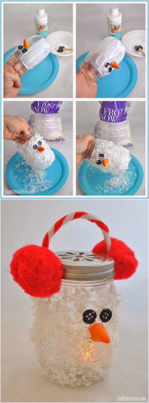 DIY Snowman Mason Jar Luminary Ornament