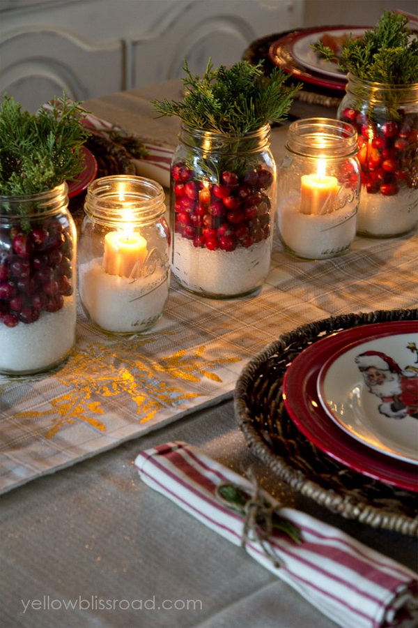 DIY Mason Jar Candle Centrepieces