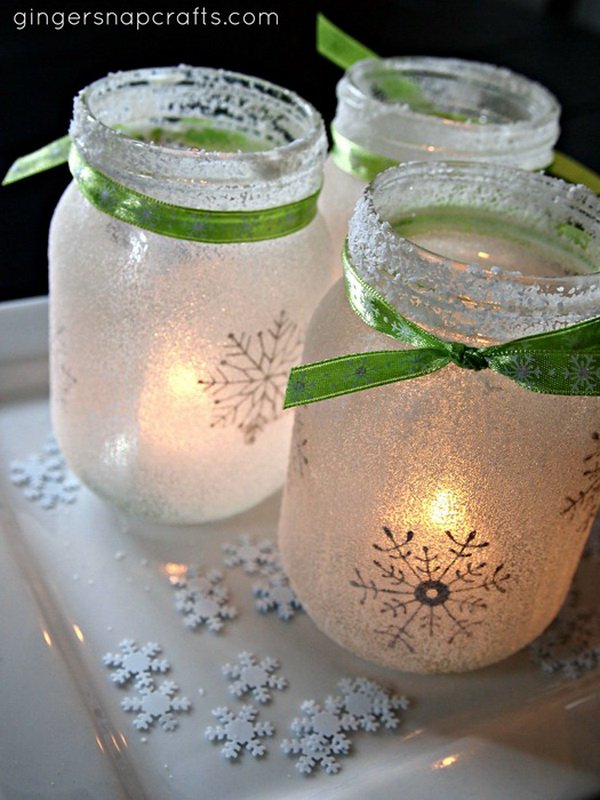DIY Snowflake Christmas Mason Jar Luminaries