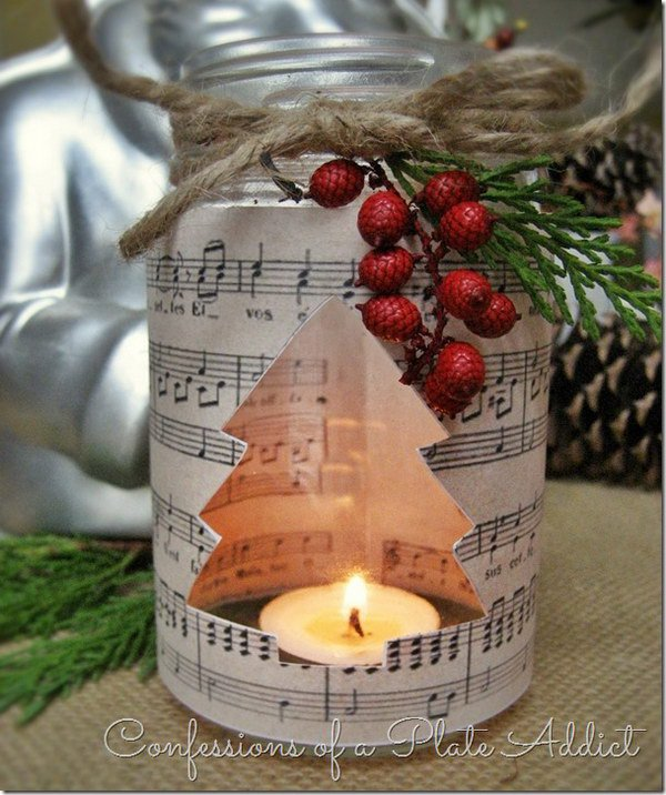 diy sheet music mason jar christmas candle - Christmas Jar Decorations