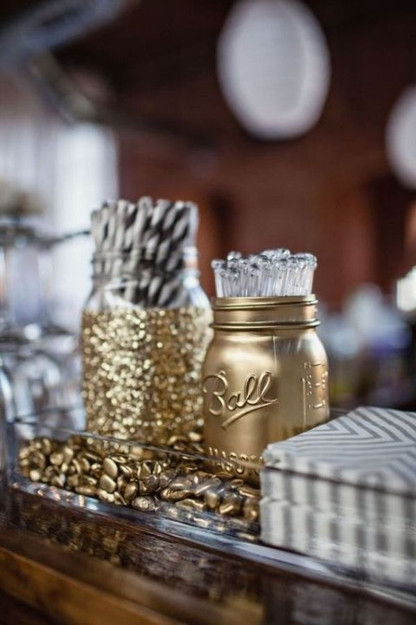 DIY Gold and Glitter Mason Jar Accents