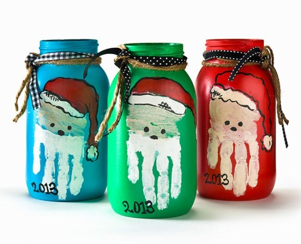 DIY Christmas Mason Jar with Santa Handprint