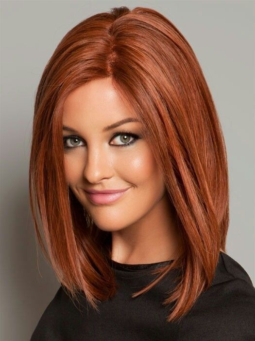 Straight Long Bob Hairstyle in Red Color.