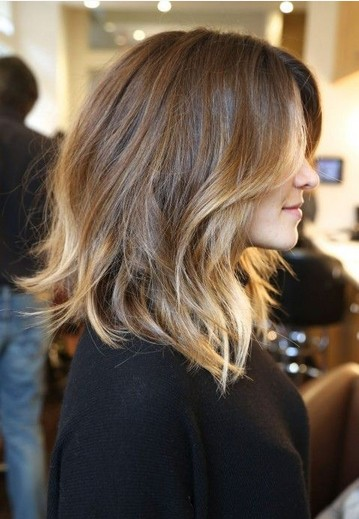 Shoulder Length Hairstyle for Ombre Wavy Hair.
