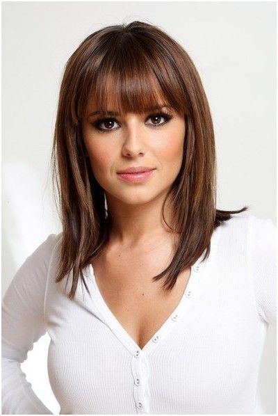 houlder Length Layered Hairstyle With Bangs.