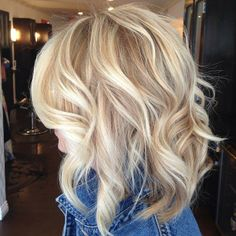 Blonde Bob Hairstyle for Curly Hair.