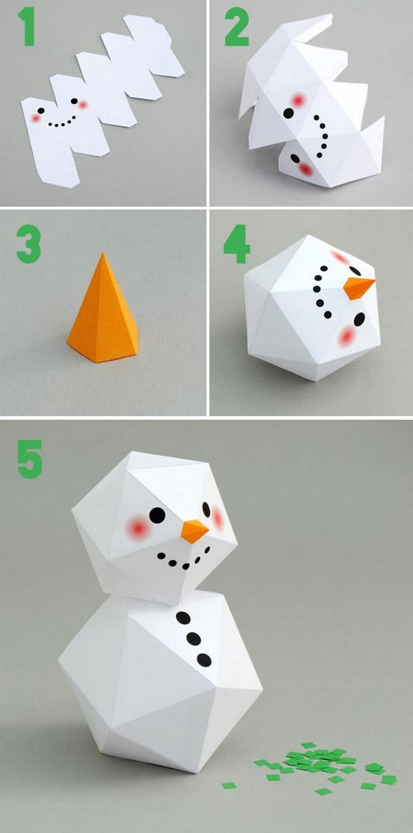 DIY Geometric Paper Snowman.
