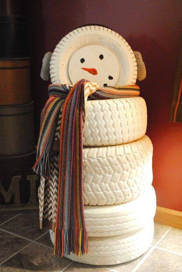 DIY Snowman Made with Old Tires.