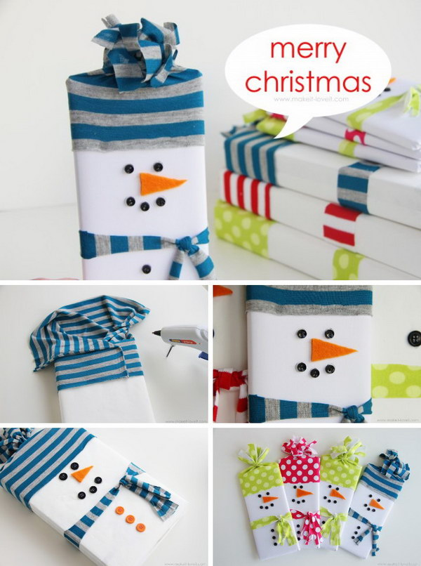 Snowman Wrapped Candy Gifts.