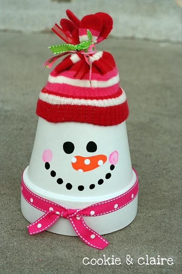 Handmade Snowmen Pots.