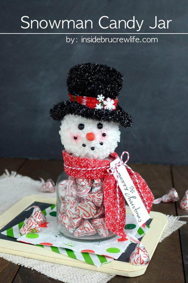 Handmade Snowman Candy Jar.