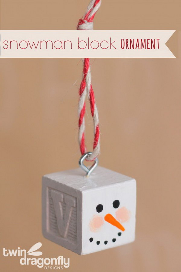 Snowman Block Ornament.